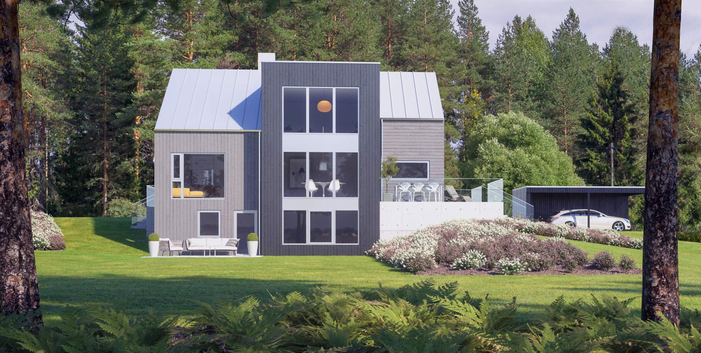 3D bilder av et hus fra Fjogstad hus etter renovering