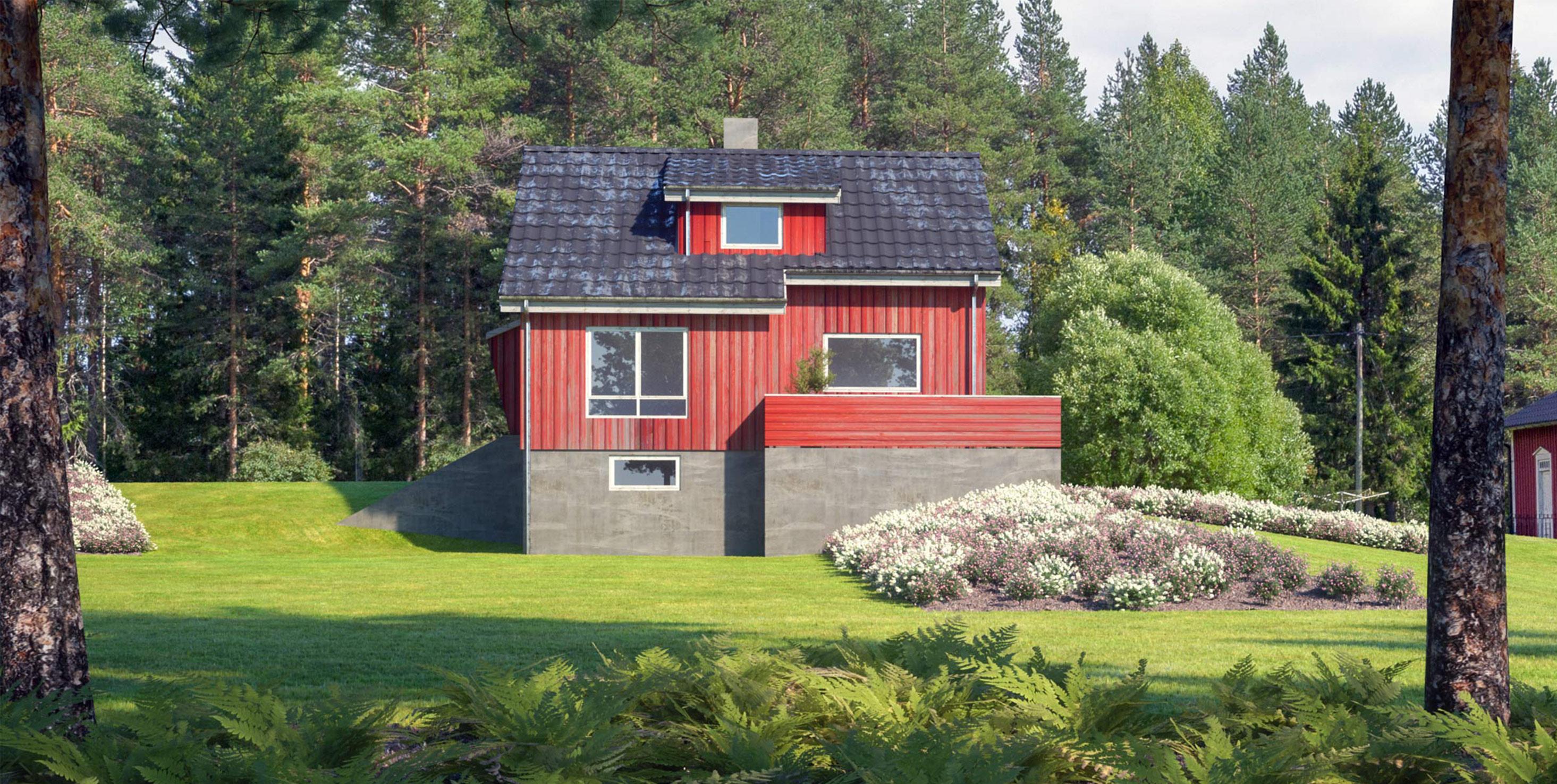 3D bilder av et hus fra Fjogstad hus før renovering