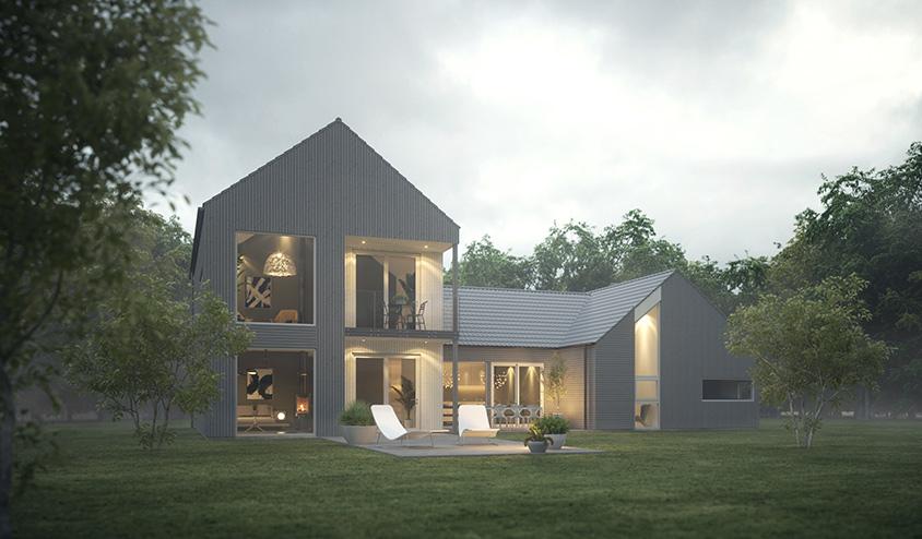 3D visuelisering av ferdighus 1710 fra Fjogstad hus